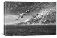 RAF Mosquitos in Norway fjord attack B&W version, Canvas Print