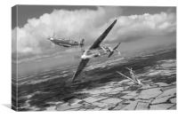 Spitfire TR 9 fighter affiliation, B&W version, Canvas Print