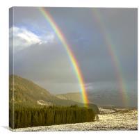 Double Rainbow over Strathmashie, Canvas Print