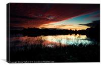 Sunset at Cossington South Lakes, Canvas Print