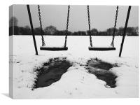 Swings in thawing snow, Canvas Print