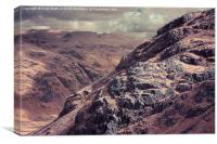 Sunlit rocks in the Lake District, Canvas Print