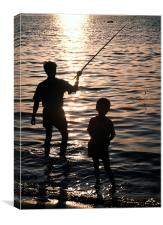 Fishing with dad, Canvas Print
