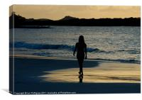 Girl walking on the beach, Canvas Print