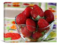 Fresh strawberries in bowl, Canvas Print