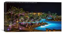 Evening picture of the swimming pool area on a res, Canvas Print