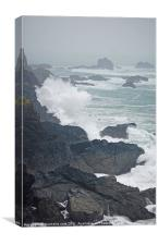 crashing waves on cornish coast, Canvas Print