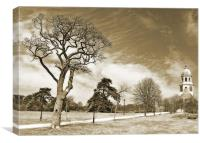 Gnarled tree and old chapel, Canvas Print