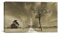 Spooky tree and old chapel, Canvas Print