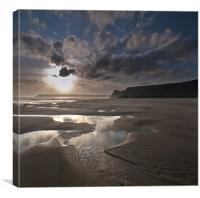 Three Cliffs Spring sunset, Canvas Print