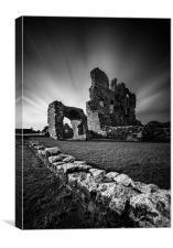 Ogmore Castle in monochrome, Canvas Print