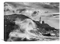 Mumbles Lighthouse Wave, Canvas Print