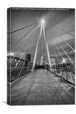 The Embankment Pedestrian Bridge at Night, London, Canvas Print