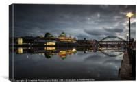 Newcastle Cityscape at Night, Canvas Print