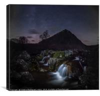 Glen Etive Waterfalls Night Sky, Canvas Print