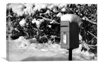 A Snowy Post Box, Canvas Print