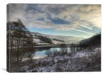 A snow covered Derwent Edge in Derbyshire., Canvas Print