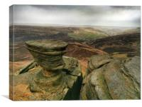 Rock Formations at Fairbrook Naze, Derbyshire., Canvas Print