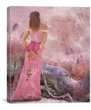 Lady dreaming in pink, Canvas Print