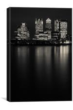 Big City Lights of Canary Wharf II (B&W), Canvas Print