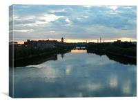 sunset over the river, Canvas Print