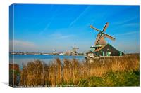 Windmills on De Zaan, Canvas Print