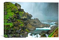 waterfall misty moss rocks, Canvas Print