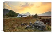 Black rock cottage Sunset, Canvas Print