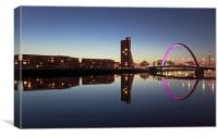 Glasgow Clyde Arc bridge reflection, Canvas Print