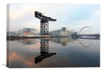 Crane and bridge reflection, Canvas Print