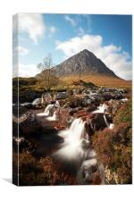 Mountain waterfall, Glencoe, Canvas Print
