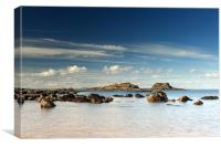 Yellowcraigs beach and Fidra island, Canvas Print