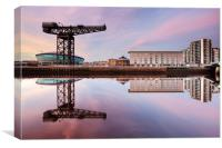 Clyde waterfront reflection at Sunset, Canvas Print