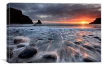 Talisker Bay Rocky Sunset, Canvas Print