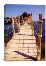 Wooden Bridge in Zante, Greece, Canvas Print