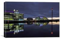Glasgow River Clyde - Pacific Quay at Sunset, Canvas Print
