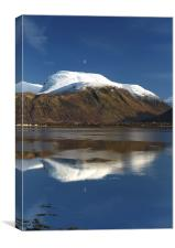 Moon above a snow-capped Ben Nevis, Canvas Print