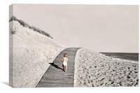 Baby running across beach edge, Canvas Print