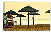 Sun set umbrellas on the beach in Portgual, Canvas Print
