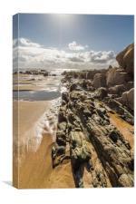 Rock, sand and sea, Canvas Print
