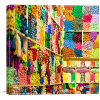 Moroccan wool shop, Canvas Print