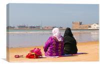 Moroccan women on beach, Canvas Print