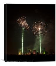 Caerphilly Castle Fireworks, Canvas Print