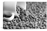 Black and White Coffee Beans in a White Mug, Canvas Print