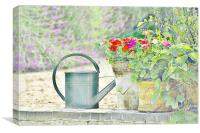 country Patio Garden, Canvas Print
