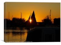 boating sunset, Canvas Print