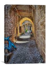 Cobbled Rhodes, Canvas Print