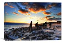 Old Groynes Sunset, Canvas Print