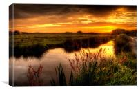 Braunton Marsh sunset, Canvas Print