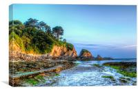 Just after sunrise at Lee Bay, Canvas Print